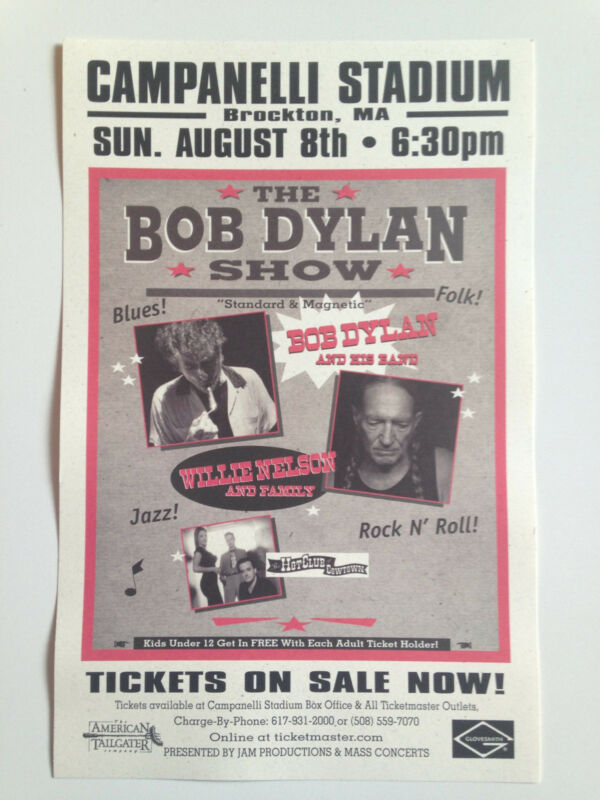 BOB DYLAN / WILLIE NELSON 2004 original show poster Campanelli Stadium