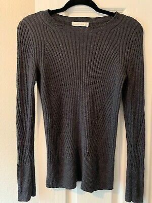 Abercrombie & Fitch A&F SZ MED Women Grey Gray Ribbed LS Sweater GUC Warm