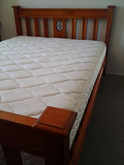 Beautiful wooden queen bed with Sealy mattress