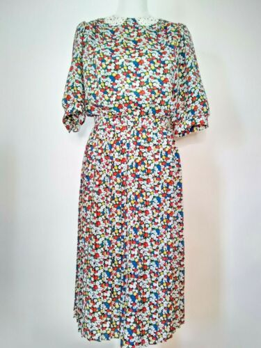 Vtg Breli Originals Womens Floral Pleated Skirt Lace Collar Belted Dress Size 10
