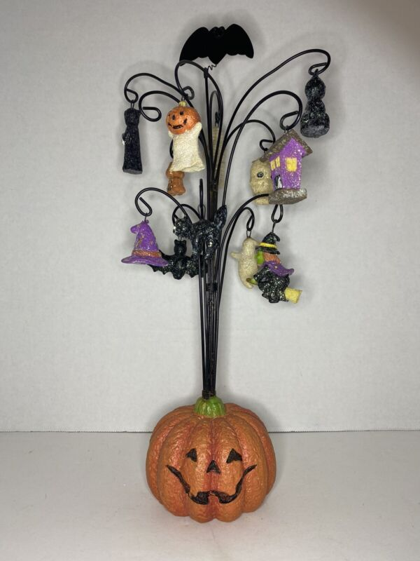 Pumpkin Wire Tree with Halloween Ornaments and Bat Topper