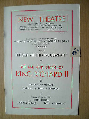 New Theatre Programme 1947-THE LIFE AND DEATH OF KING RICHARD II by W Shakespear