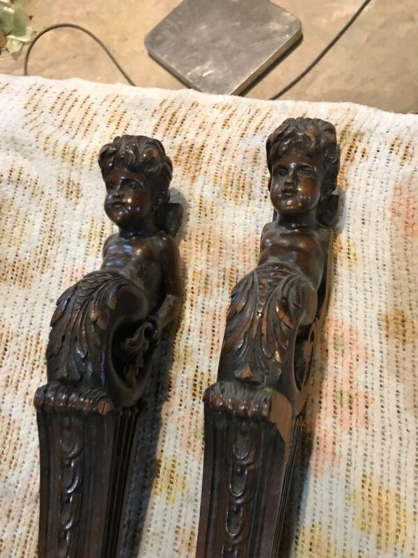 Matched Pair Antique Carved Cherub Pediment Wood Elements 25.5 X 5