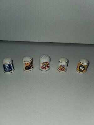Lot of 5 Vintage Advertising Porcelain Thimbles