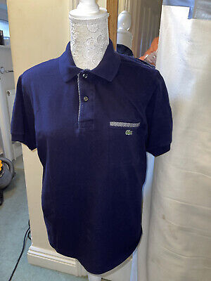 MENS LACOSTE Navy blue POLO T-SHIRT SIZE L 4 100% AUTHENTIC GREAT CONDITION