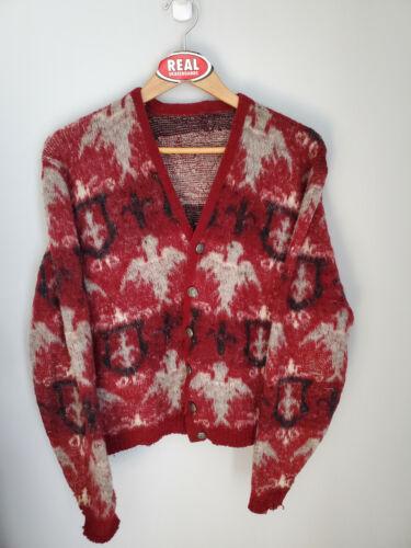 Vintage Campus Mohair Cardigan Cobain Sweater Grunge Fuzzy Men