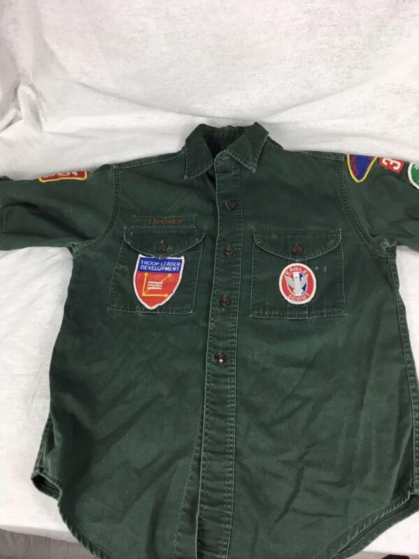 Vtg BSA Boy Scouts Explorers Uniform Sanforized Shirt Patches Eagle Scout 1970s