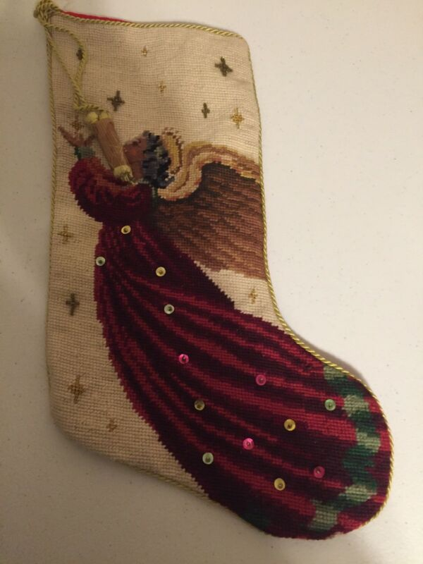 "Vintage Christmas Stocking Angel Cross-stitch Handcrafted Stocking 16"" By 8"""