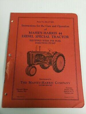 Massey Harris Diesel 44 Special Tractor Original Owners Operators Manual