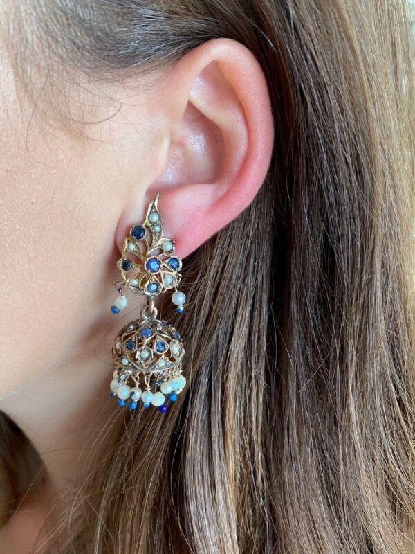 Antique 9K 14K East Indian Chandelier Earrings Sapphires Seed Pearls 23 grams