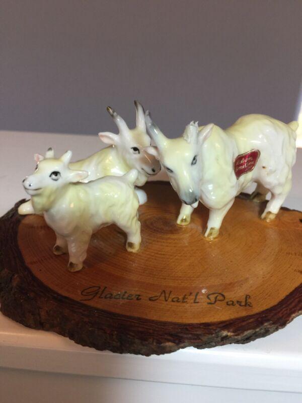 Vintage Bone China Goats Miniature Figurines Kid Family Glacier Park Souvenir