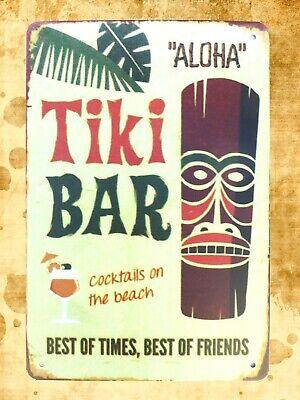 US Seller- Aloha Tiki Bar tin metal sign man cave living room wall decor