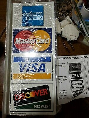 New Outdoor Credit Card Sign. 2 Sided...visa Mastercard Amex Discover. Nos