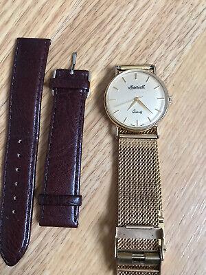 Gents ladies 9 ct gold Ingersoll quartz dress forma wristwatch 2 Straps