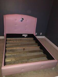 Pink Faux Leather Youth Bed