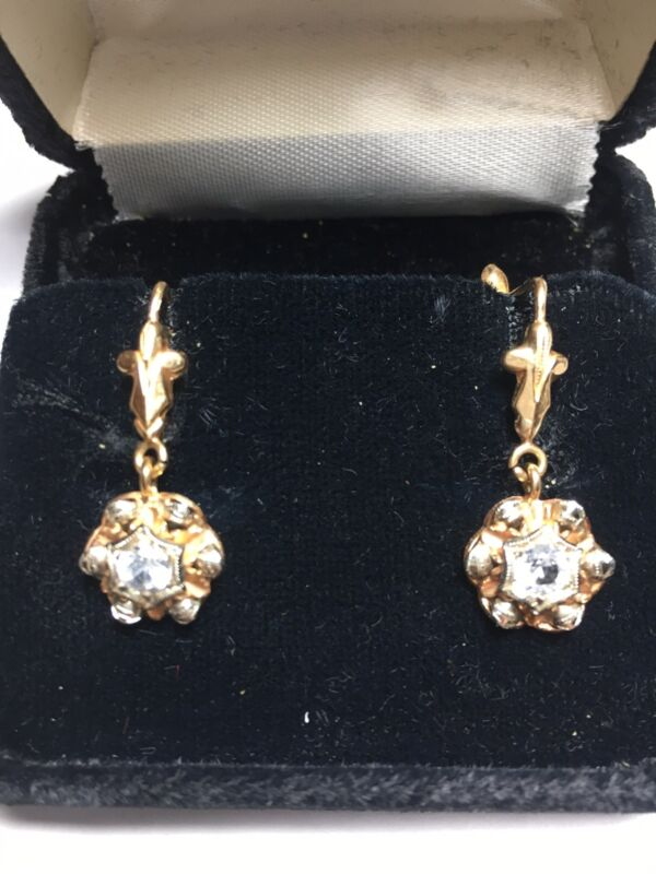 VICTORIAN 18K YELLOW AND WHITE GOLD  DROP EARRINGS  FRENCH LEVER BACKs