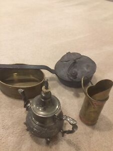 Antique brass fireplace accessories