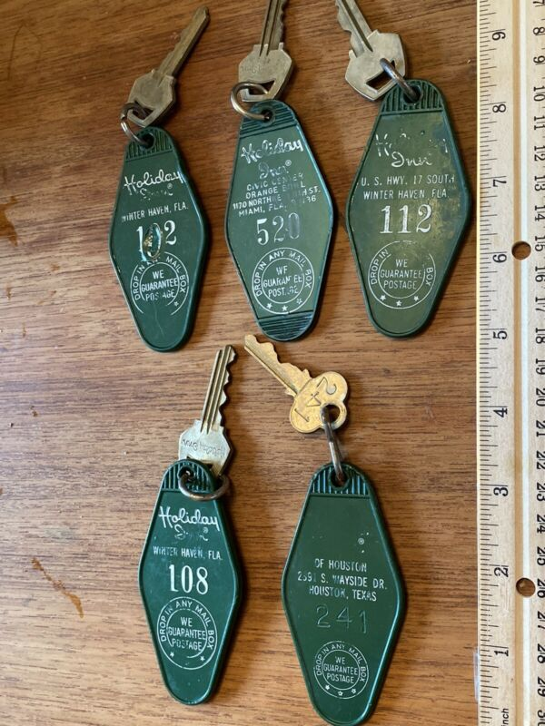 Vintage Lot Of Five Holiday Inn Keys and Fobs Florida -  Heavy Use And Wear!