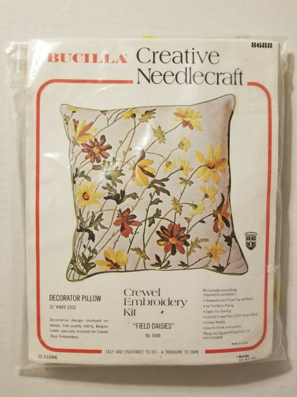 "Vintage Bucilla Crewel Embroidery Kit #8688 ""Field Daisies"" - Made in USA"