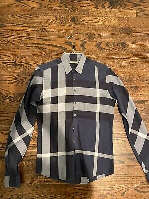 Authentic Burberry Brit Men's Button Down Shirt Size Small Navy Plaid Pattern