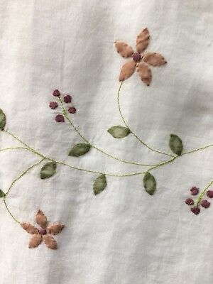 MILK WHITE GREEN MULTICOLOR FLORAL 100% COTTON ORGANDY FABRIC (44 in.) Sold -