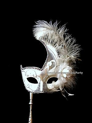 Venetian Masquerade Stick Ostrich feather flower Swan Costume Prom Party Mask (Masquerade Mask Stick)