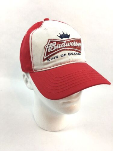 Budweiser Mens Baseball Cap King Of Beers Hat Red & White Adjustable Size NWT