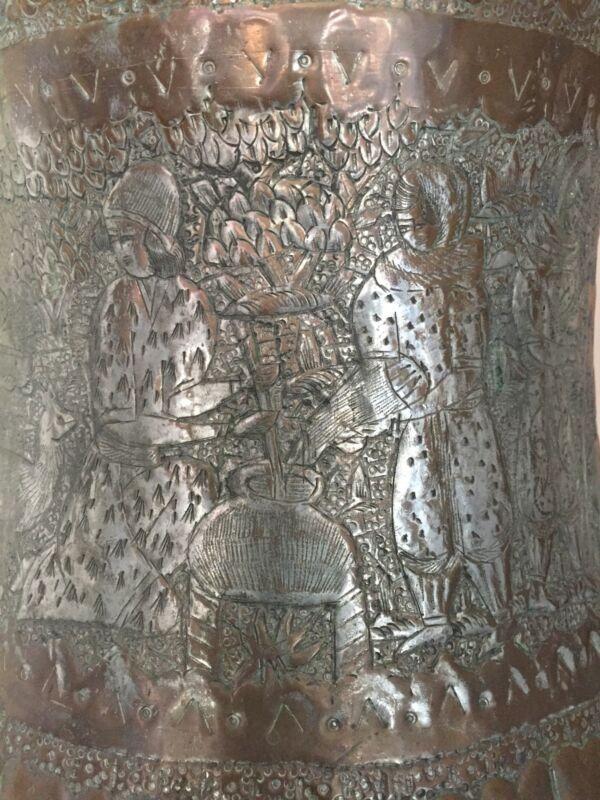 Antique INDIO ASIAN QAJAR PICTORIAL BUCKET