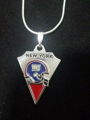 New York Giants Pendant Necklace Sterling Silver Chain NFL Football