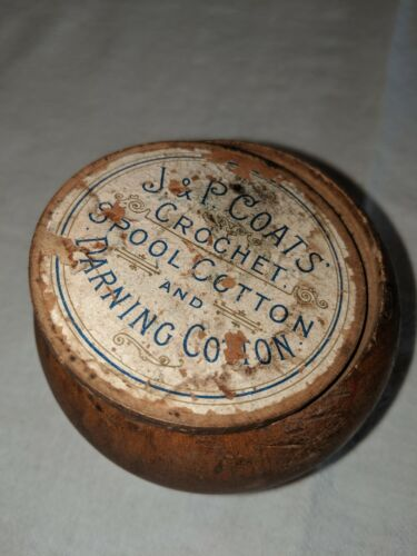 ANTIQUE J&P COATS WOODEN MAUCHLINE TREEN WARE CARVED THREAD HOLDER NEEDLE CASE
