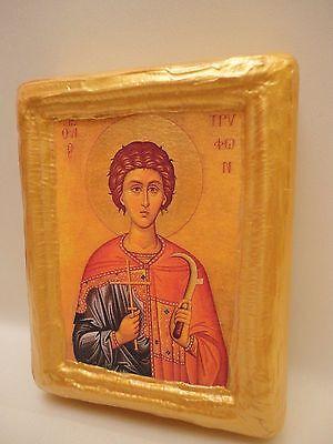 Saint Tryphon Tryfon Agios Tryfonas Greek Orthodox Icon Gold Art On Pine Wood