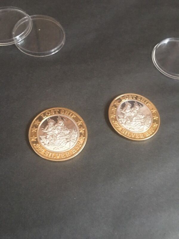 """*PRINCESS CRUISES $10 SILVER/BRASS GAMING TOKEN """"LOST SHIP"""" BEAUTIFUL-ONE OWNER*"""