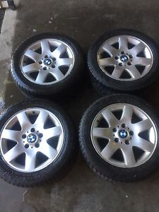 """Mags 5x120 16"""" BMW + 205/55/r16 winter tires in good condition"""