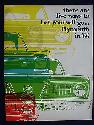 VINTAGE 1966 PLYMOUTH AUTOMOBILE CAR DEALERSHIP BROCHURE CATALOG w BARRACUDA