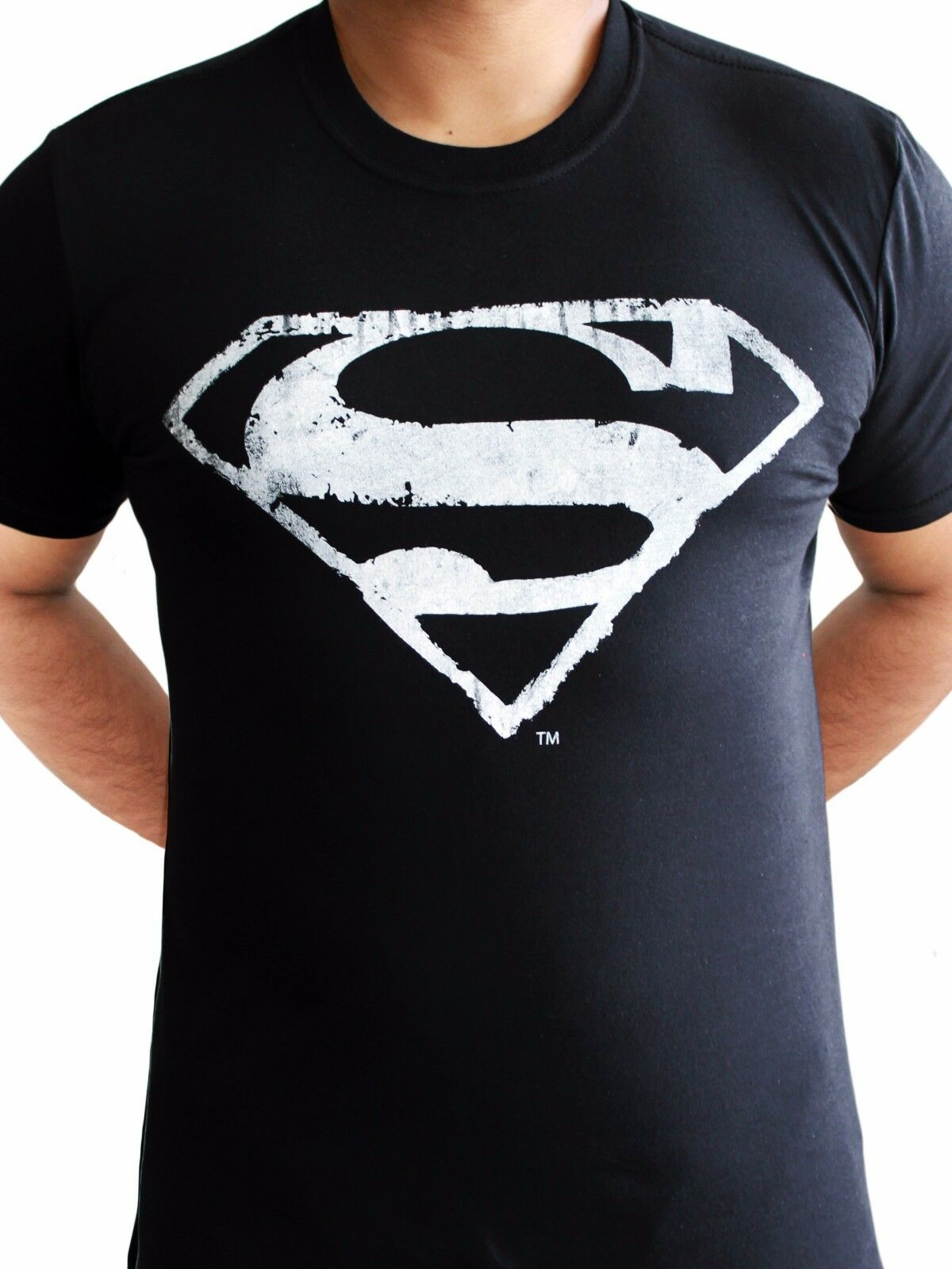 40aa5ce8 Superman Logo Mono Distressed Man of Steel Classic DC comics Black Mens T- shirt