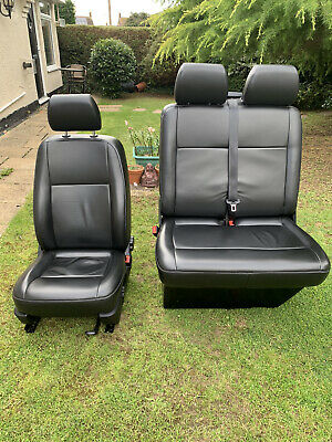 VW T5.1 MATCHING FRONT BLACK LEATHER FRONT SEATS  AND REAR COMBI SEATS