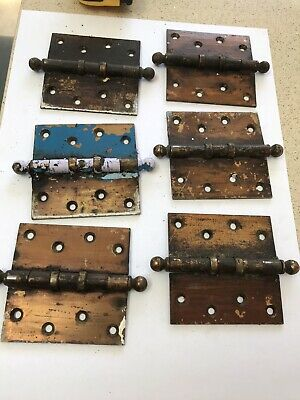 "Set Of Six Vintage Reclaimed Brass Finish Steel 4"" Ball Top Door Hinges (2)"