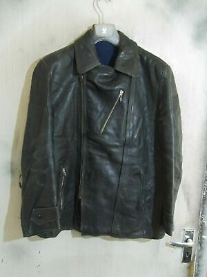 VINTAGE 40's Army Distressed Leather Jacket Size M