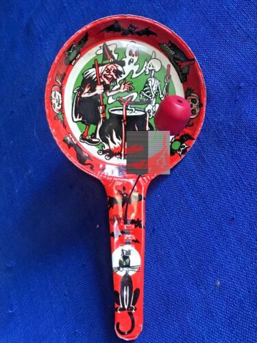 Vintage Halloween Noisemaker US Metal Toy Clanger Red Clapper Ghost Skeleton
