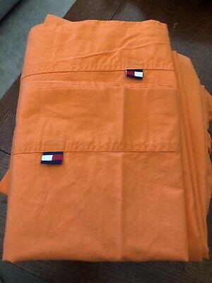 Tommy Hilfiger Orange Sherbet Twin Sheet Lot Flat Fitted Pillowcase -