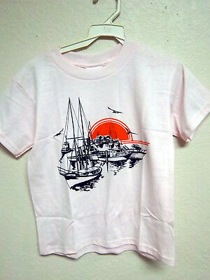 - Colorful Sunset Harbor print on a pink T-shirt, 50% cotton poly youth (S) small