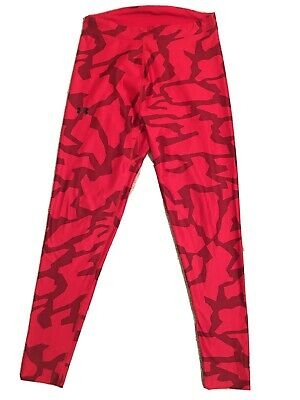 *EUC*Under Armour Cold Gear Womens Red Leggings Compression Fit Size Large