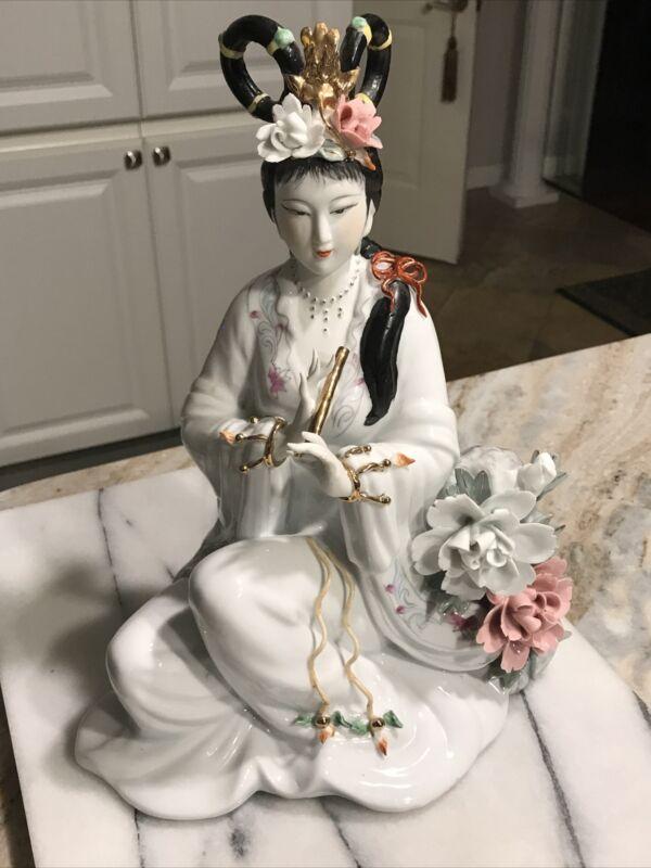 Geisha Porcelain Statue Asian Sculpture Figurine Japan Flute Play Gold Oriental
