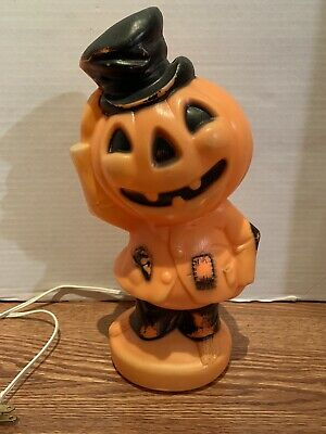*Vintage* 1960s Empire Halloween Blow Mold Pumpkin Man Black Top Hat 13""