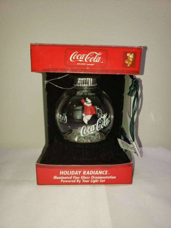 "Vintage 80s Coca-Cola Holiday Glass Ornamentation "" Polar Bear Snowboarding """