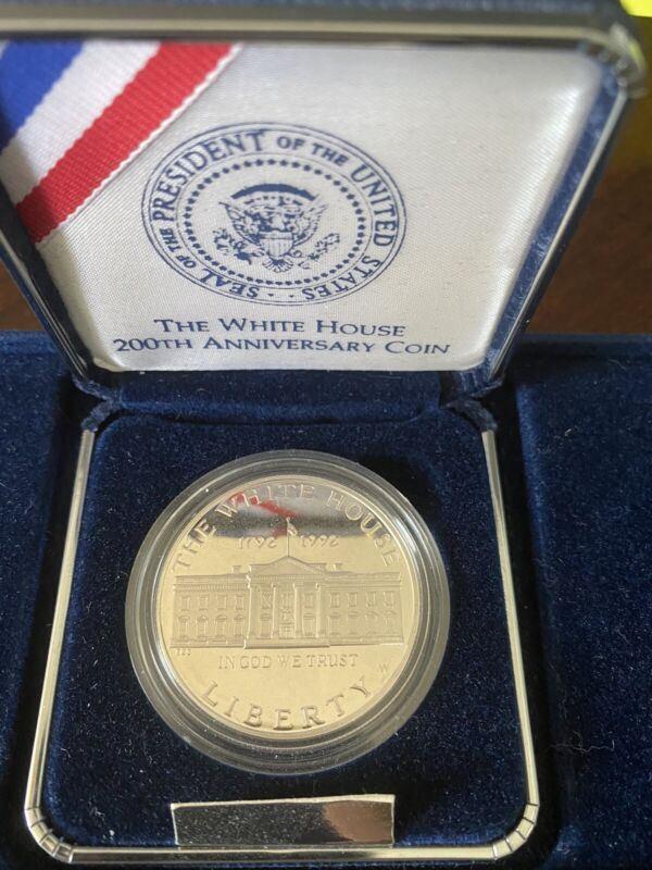 1992 White House 200th Anniversary $1 Proof Silver Dollar Coin with Box & COA