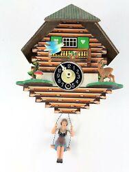 Vintage Mini W. Germany Cuckoo Clock Chalet Swing Girl Black Forest Parts/Repair
