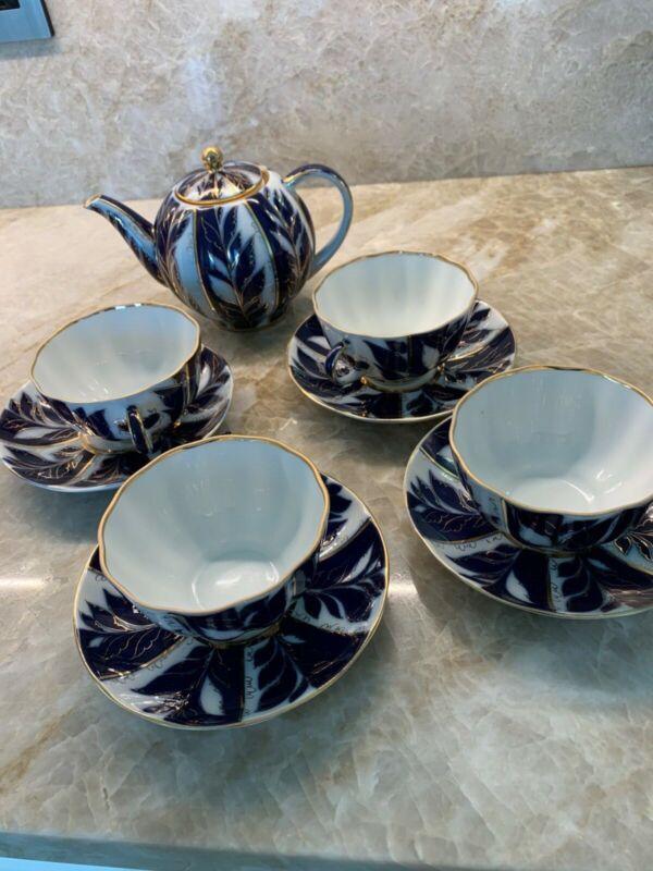 Russian Imperial Lomonosov Cobalt 22k Gold Blue Paradise 4 Cups Saucer & Teapot