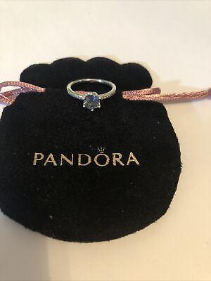 Pandora Blue Sparkling Crown Ring Size 56 In Pandora Pouch