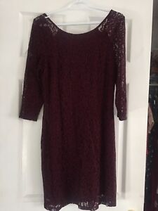 Burgundy red purple lace dress evening wedding 3/4 sleeve large